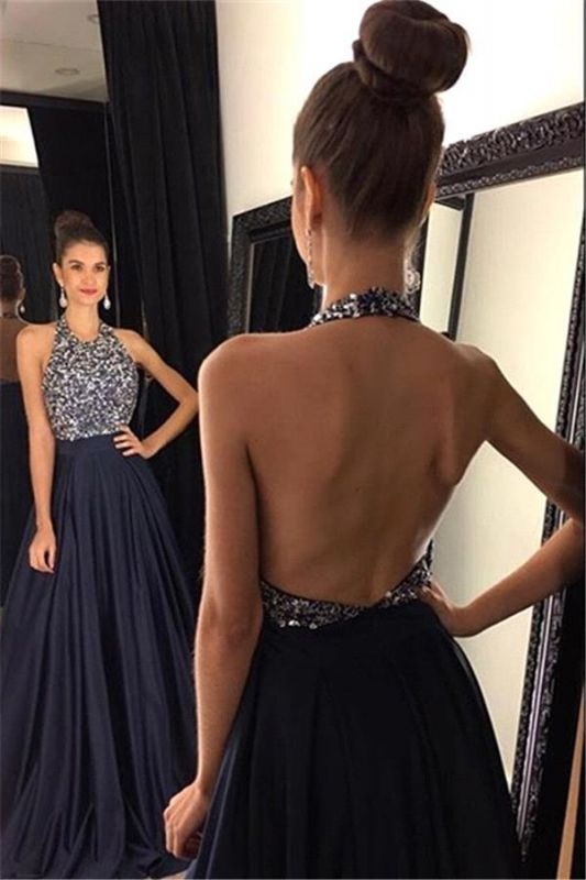 Sexy Black Halter 2020 Prom Dresses Backless Long Chiffon With Beadings AP0