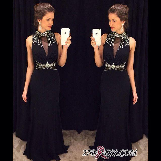Crystal Sleeveless Sheath Black High-Neck Natural Long Prom Dresses AP0