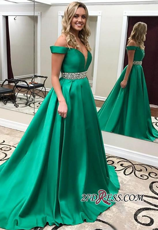 Crystal Off-the-Shoulder Gorgeous Green 2020 Prom Dress
