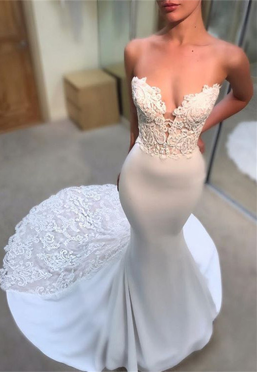 Gorgeous Sweetheart Lace Wedding Dress | 2020 Mermaid Long Bridal Gowns