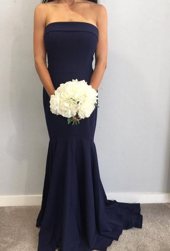 Fashion Strapless Sleeveless Mermaid Maid Of Hornor Dress | Navy Bridesmaid Dress On Sale