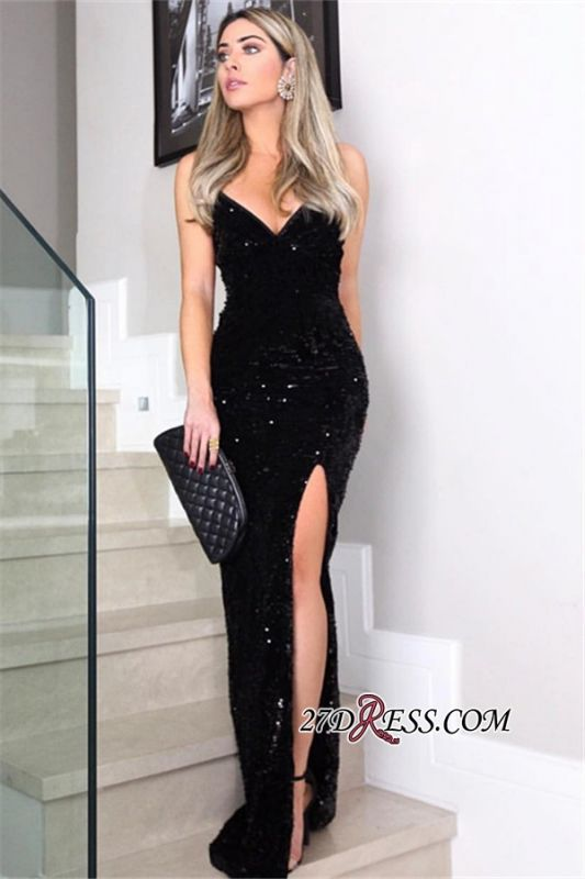 Cheap Black Side-Slit Sheath Prom Dresses | V-Neck Sleeveless Floor-Length Sequins Evening Dresses BC1100
