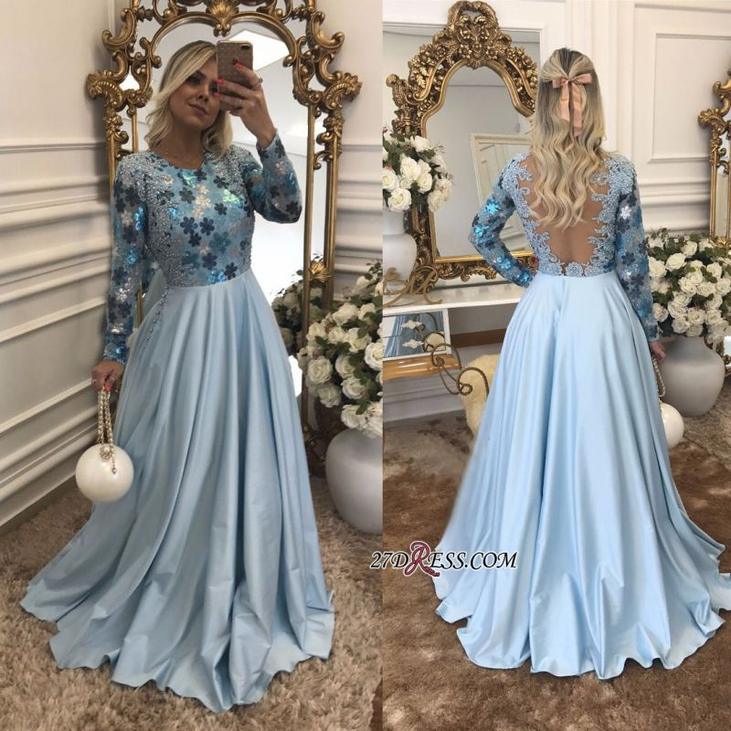 Lace Long-Sleeves Beaded Blue A-Line Scoop Evening Dress