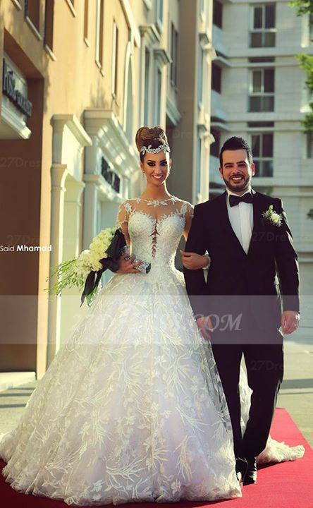 Train Long Sleeve Lace Wedding Dresses with Sweep New Arrival Ball Gown Bridal Gown