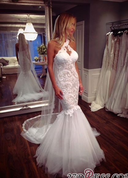 Mermaid Tulle Sleeveless Lace Halter Elegant Wedding Dress