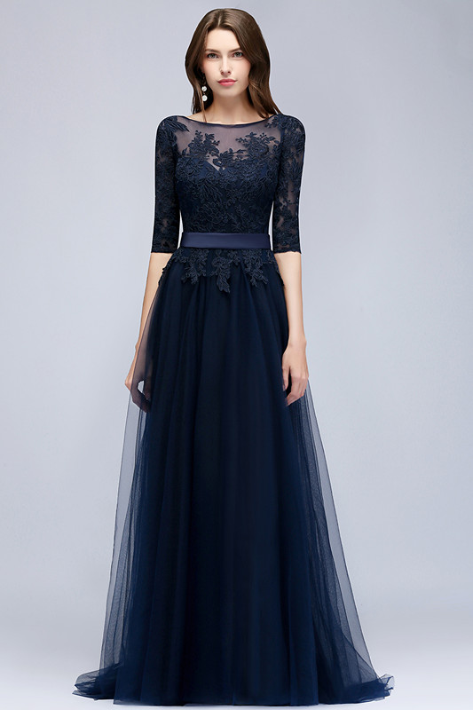 Elegant Half-Sleeve Lace Evening Dress | 2020 Long Tulle Prom Gowns