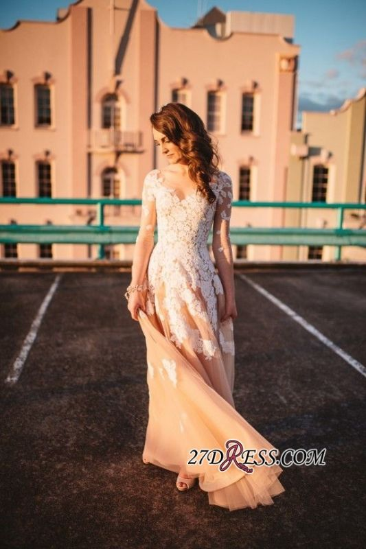 Long-Sleeve Tulle A-Line Lace Gorgeous Evening Dress