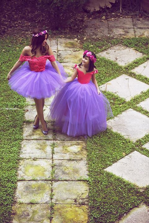 Newest Off-the-shoulder Tulle Mother And Daughter Dress With Lace