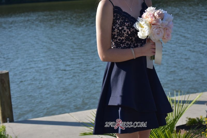 Lace Sexy Navy-Blue V-neck A-line Short Spaghetti-Straps Homecoming Dresses