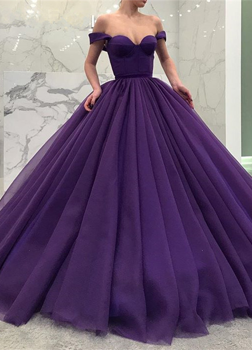 Glamorous Off-the-Shoulder-Grape Prom Dresses | 2020 Ball Gown Evening Dresses