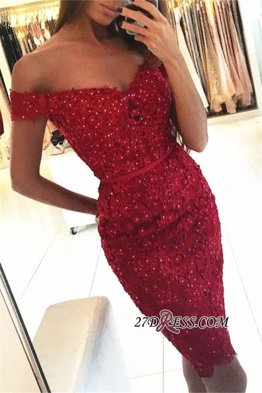 Beadings Short Sheath Red Off-the-Shoulder Appliques Sexy Tight Homecoming Dress qq0326