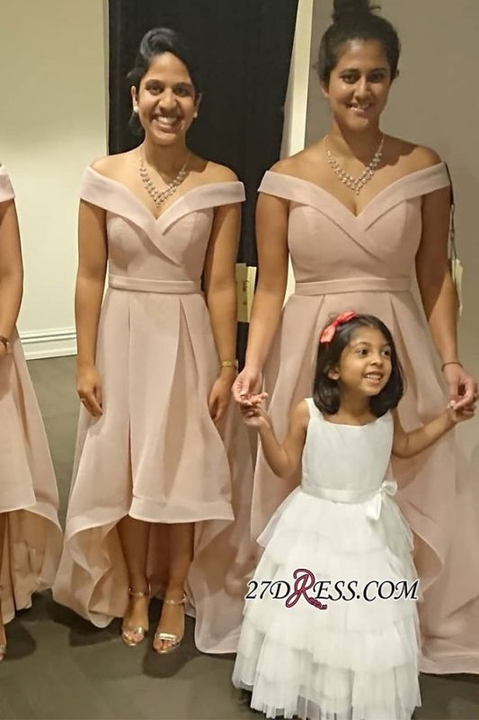 Off-the-shoulder High-low V-neck Bridesmaid Dresses With-sash
