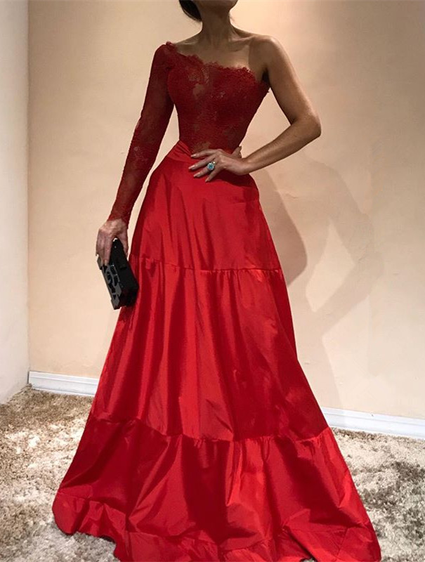 Gorgeous One-Shoulder 2020 Evening Dress | Lace Red Prom Party Gowns
