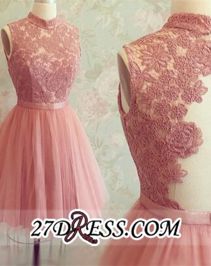 High-Neck Mini Lace Appliques Newest Sleeveless Homecoming Dress