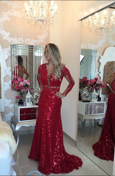 Glamorous Red Mermaid Sequins Prom Dress 2020 Lace Appliques Backless
