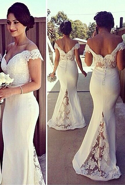 Sexy Off-shoulder Mermaid Bridesmaid Dress With Lace Appliques
