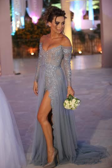 Sexy V-neck Long Sleeve Evening Dress Front Split Open Back Train Prom Gowns With Beadings
