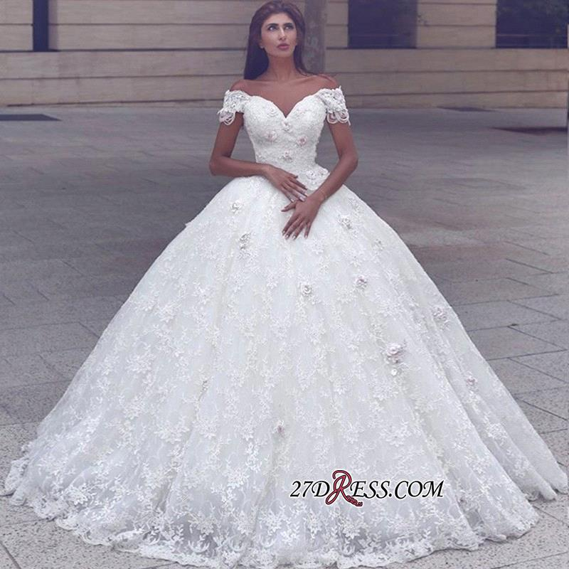Ball-Gown Lace Glamorous Cap-Sleeve Lace Wedding Dress
