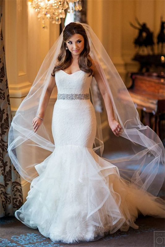 Sparkly Sweetheart Mermaid 2020 Wedding Dresses Lace Tulle Beads