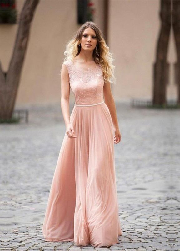 Lovely Pink Sleeveless 2020 Prom Dress Long Lace Tulle