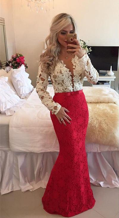 2020 Long-Sleeves Mermaid Popular Lace Beadings Floor-Length Prom Dresses