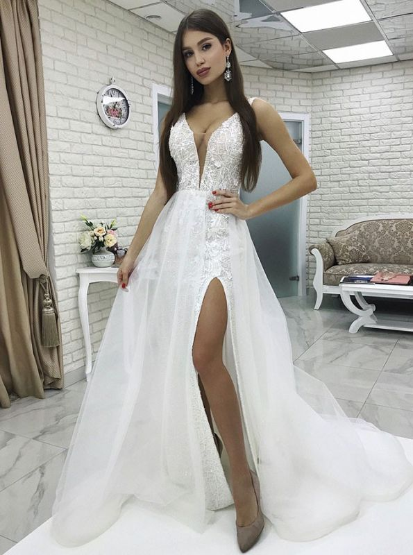 Glamorous White V-Neck Floor-Length 2020 Wedding Dress | Lace Appliques Front Split Tulle Bridal Gown
