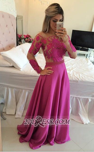 Gorgeous Long Sleeve Lace Prom Dress Long Chiffon Evening Gowns BT