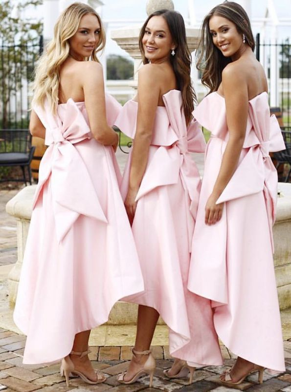 Fashion Pink Bow Strapless Bridesmaid Dress | 2020 Tea-length Sleeveless Bridesmaid Gown