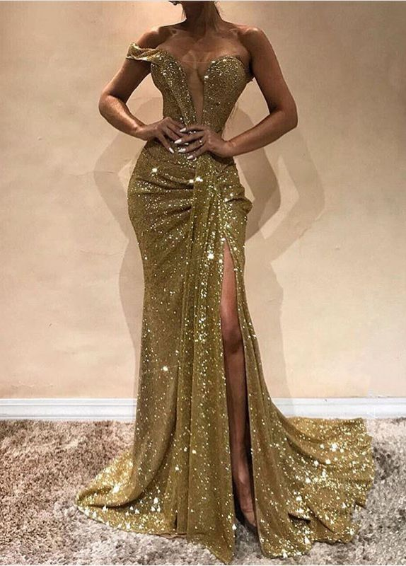 Gorgeous One-Shoulder Sequins Prom Dress | Golden Mermaid Evening Gowns With Split