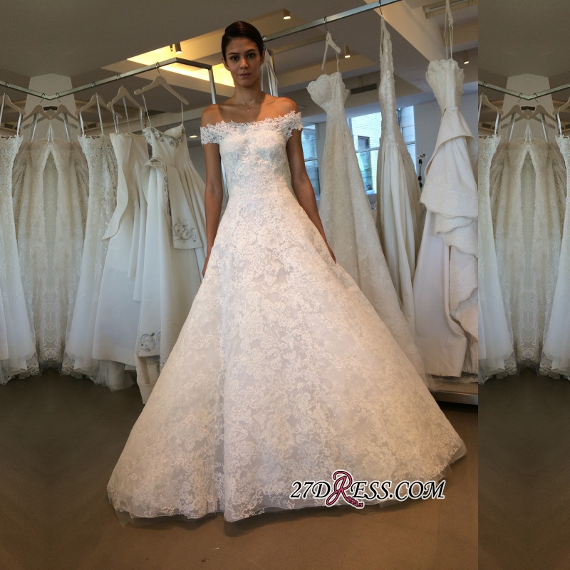 Off-the-shoulder Lace A-line Newest Wedding Dress