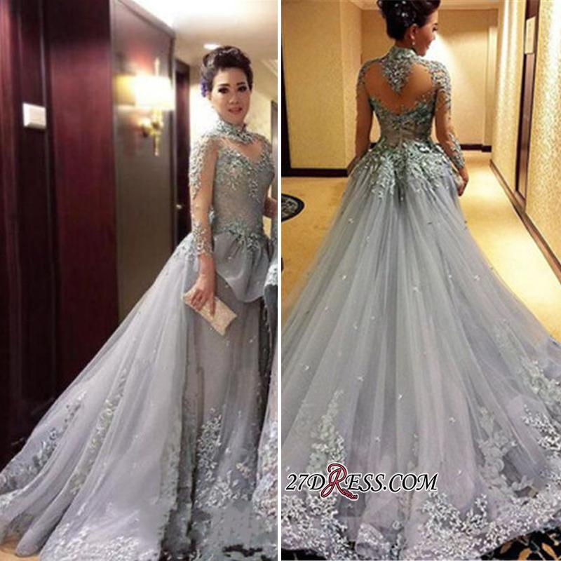 Modest Tulle Appliques High-Neck Long-Sleeves Prom Dress