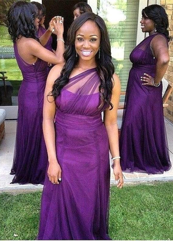 Elegant One Shoulder Purple Bridesmaid Dress 2020 Long Tulle Plus Size