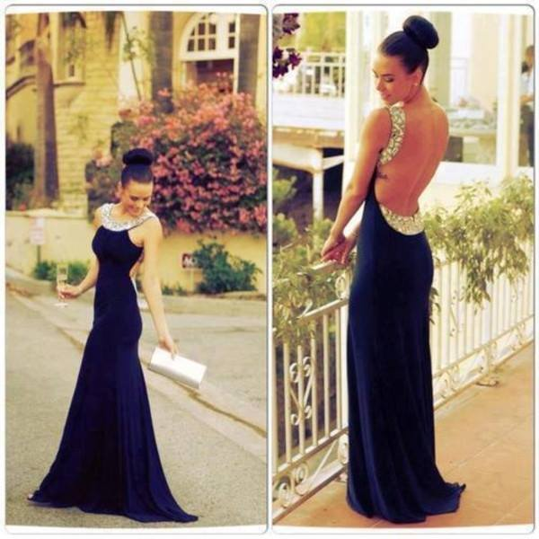 Backless Long Chiffon Prom Dress Beadings 2020 BA6715