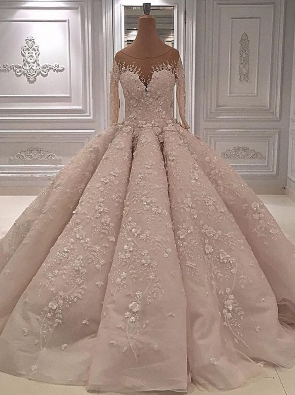 Luxury Long Sleeves Ball Gown Wedding Dress-Sheer Neck Lace Appliques Long Bridal Dresses