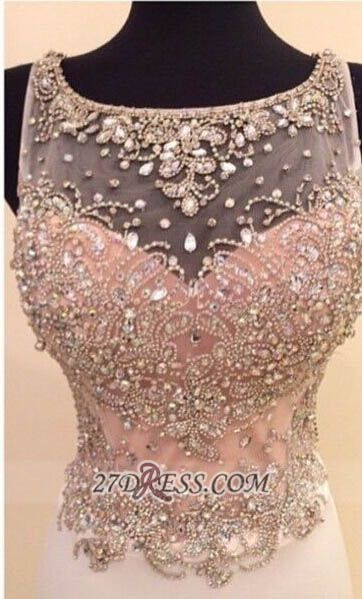 Glamorous Illusion Sleeveless Long Prom Dress With Beadings Crystals