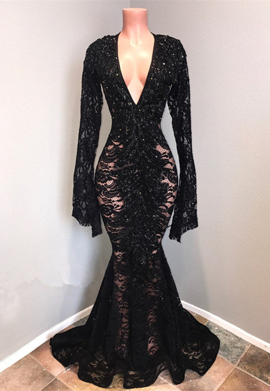 Sexy Black Lace Prom Dresses | 2020 Mermaid V-Neck Evening Gowns BC0558