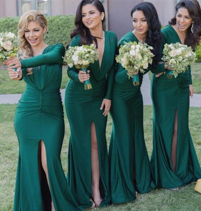 Fashionable V Neck Mermaid Green Maid Of Hornor Dress | 2020 Long Sleeves Green Bridesmaid Dress With Slit