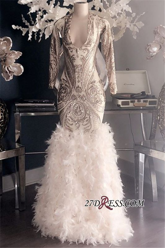 Feathers Mermaid Glamorous Long-Sleeves Deep-V-Neck Prom Dresses