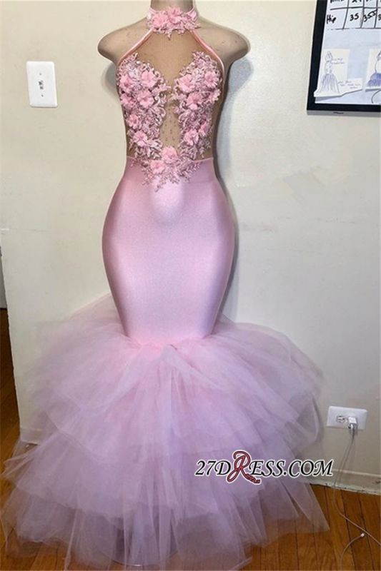 Halter Flower Appliques Mermaid Prom Gown | Pink Sleeveless Tulle Prom Dress