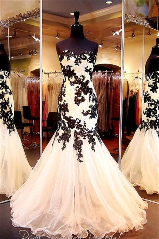 Elegant Sweetheart Black Appliques Evening Dresses 2020 Mermaid Sweetheart Tulle