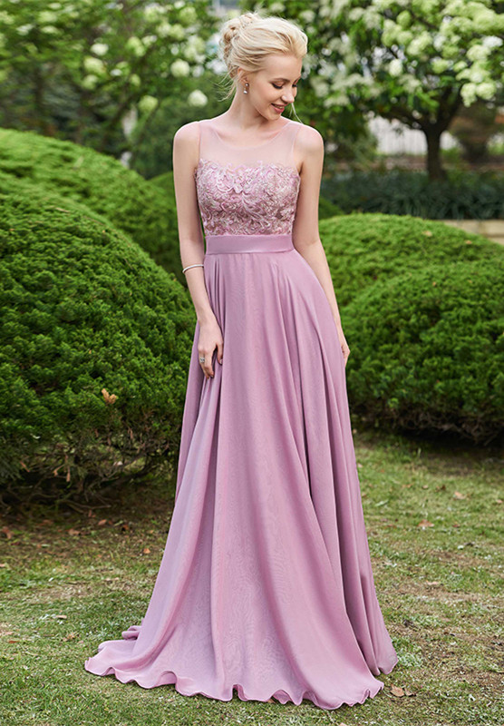 Delicate Lace A-line Sleeveless Bridesmaid Dress | A & B styles Bridesmaid Dress