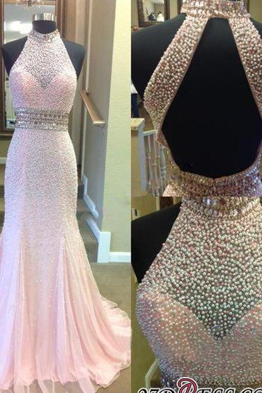 2020 Crystal Mermaid Halter Open-Back Two-Pieces Luxury Prom Dress