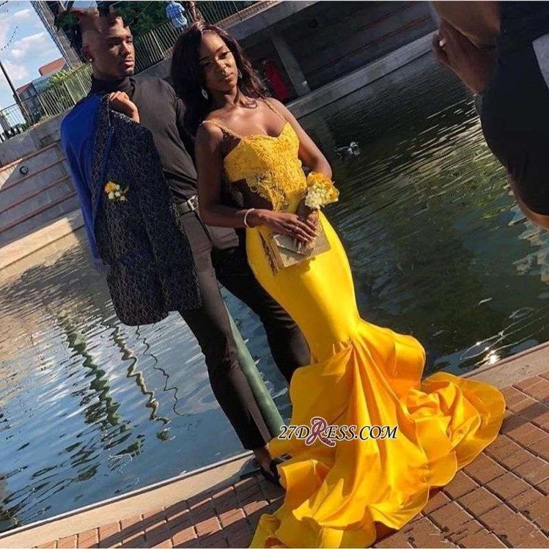 Gorgeous Spaghetti-Strap Yellow Prom Dresses | 2020 Mermaid Long Evening Gowns BK0
