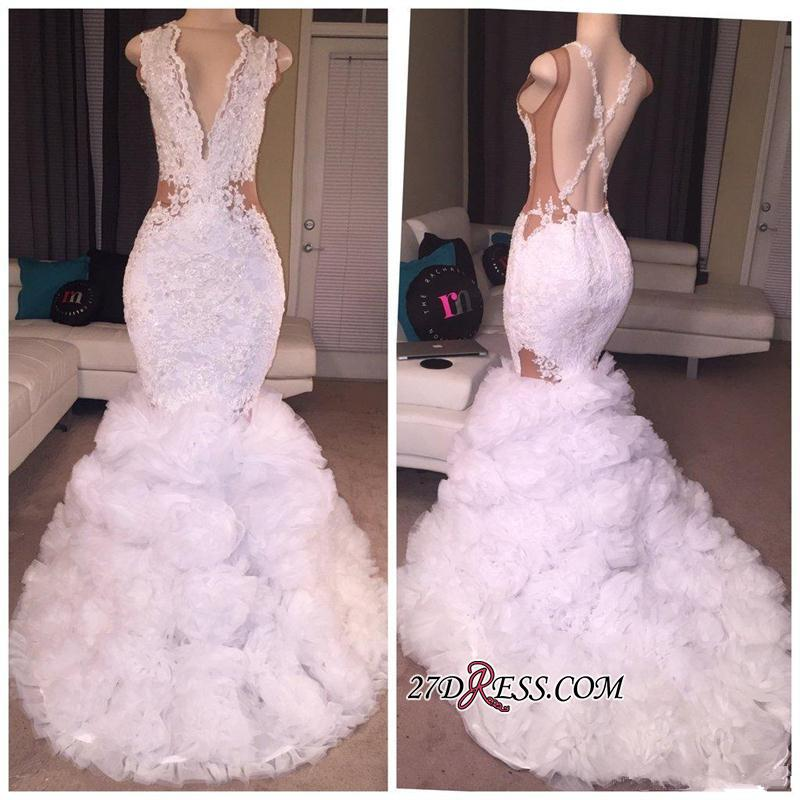Criss-cross Sleeveless Mermaid Lace Ruffles Deep-V-neck Appliques 2020 Prom Dress BA5316