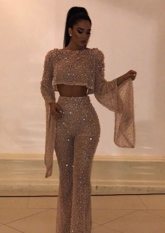 Fashion Two-Pieces Crew Long sleeves Prom Dress | 2020 Floor-Length Crystal Sequins Evening Gown