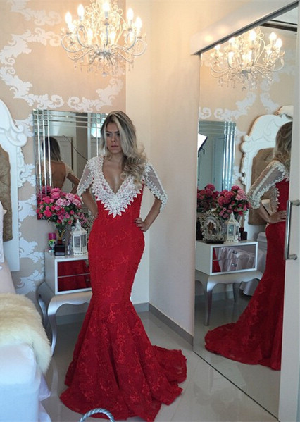 Modern V-neck Lace Mermaid Prom Dress 2020 Half Sleeve Zipper NB089