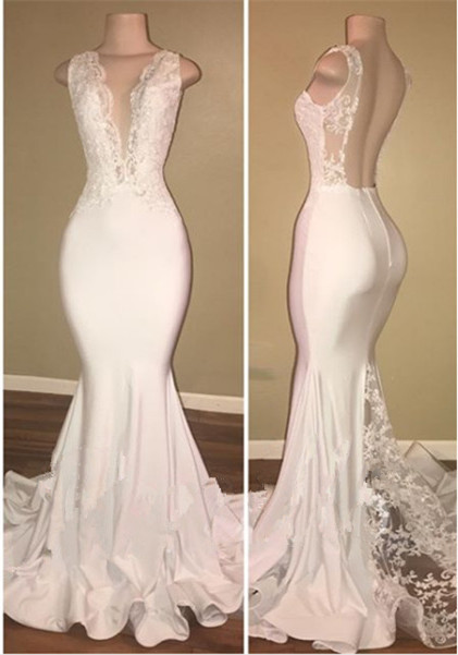 Elegant White Lace 2020 Evening Dress Mermaid Lace Backless Party Gowns BA7772