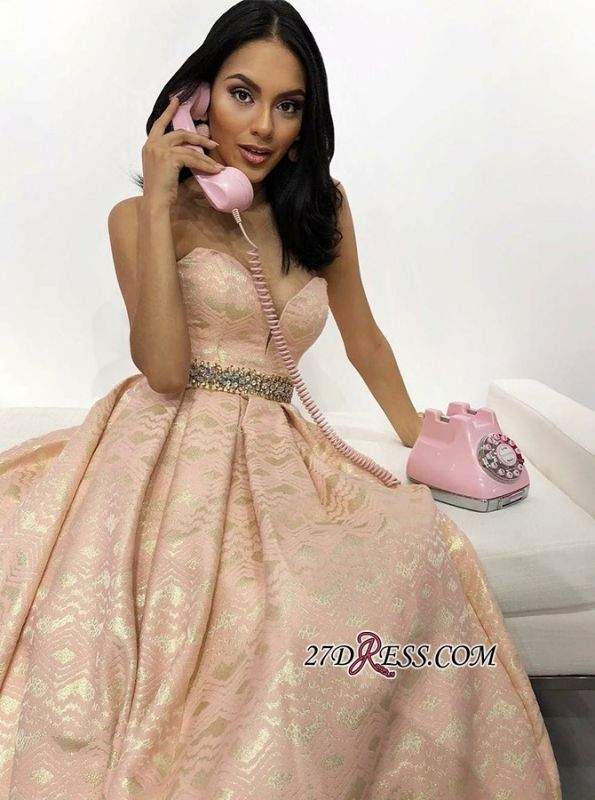 Exquisite Crystal-Sashes Lace A-Line Prom Dresses | 2020 Fashion Sweetheart Sleeveless Evening Gowns