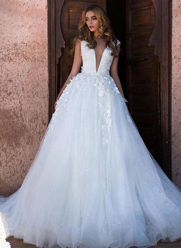 Glamorous V-Neck Cap Sleeves Wedding Dress | Long Lace Appliques Bridal Gowns On Sale