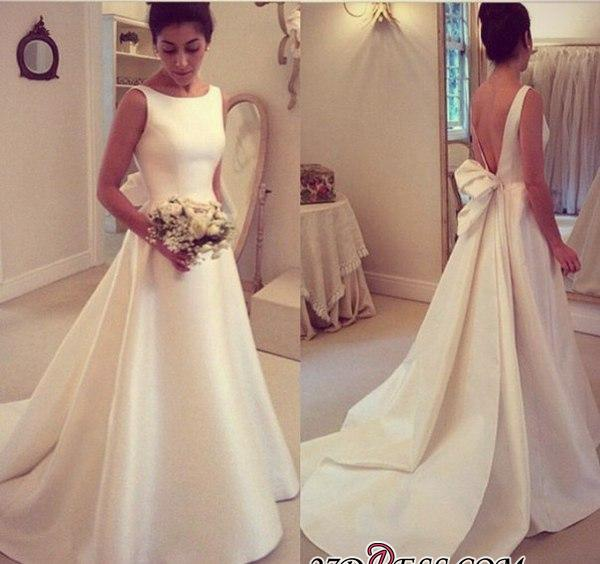 2020 Jewel Sleeveless Bow Sweep-Train A-line Elegant Wedding Dress